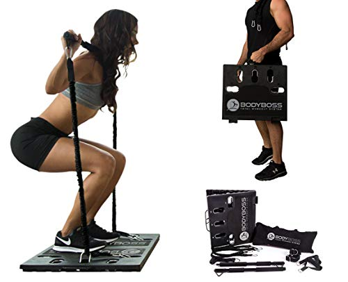 BodyBoss Home Gym 2.0 - Full Portable Gym Home Workout Package + 2 Extra Bands, Black