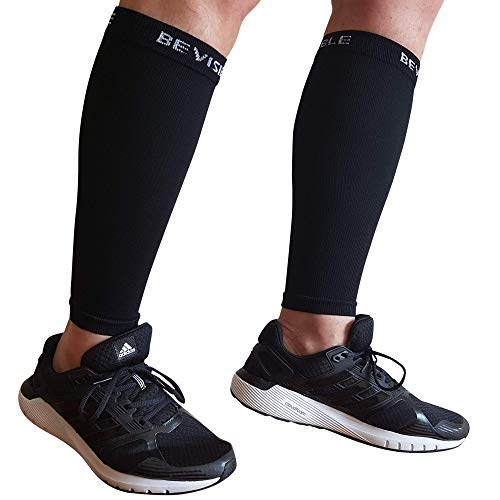 BeVisible Sports Unisex Calf Compression Sleeve - Black (XL-XXL)
