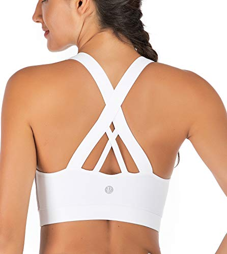 RUNNING GIRL Sports Bra for Women, Criss-Cross Back Padded Strappy Sports Bras Medium Support Yoga Bra with Removable Cups(WX2353.White.CN:L,US:M)