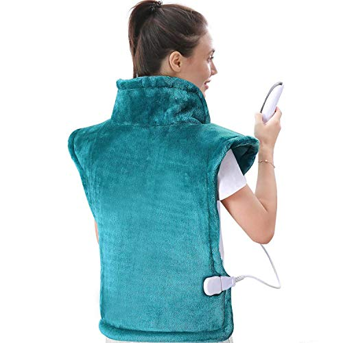 Large Heating Pad for Back and Shoulder Pain, 24'x33' Heat Wrap with Fast-Heating and 5 Heat Settings for Sport Sorness and Cramps Relief, Auto Shut Off Available-Lake Green