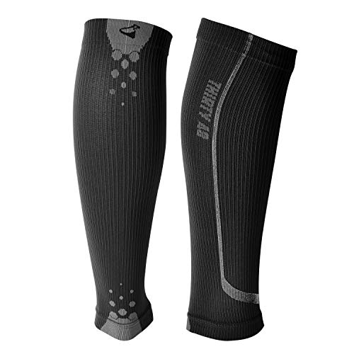 Graduated Calf Compression Sleeves by Thirty48 | 15-22 OR 20-30 mmHg | Maximize Faster Recovery by Increasing Oxygen to Muscles (Small // 13.7-15 Inch Upper Calf, [1 Pair] Black)