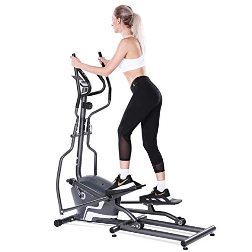 MaxKare Elliptical Machine Trainer Magnetic Elliptical Exercise Machine Front Flywheel Driven for Home use with 8-Level Resistance LCD Monitor Pulse Smooth Quiet
