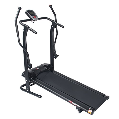 EFITMENT Adjustable Incline Magnetic Manual Treadmill w/Pulse Monitor (Upgraded-Arm Exercisers)
