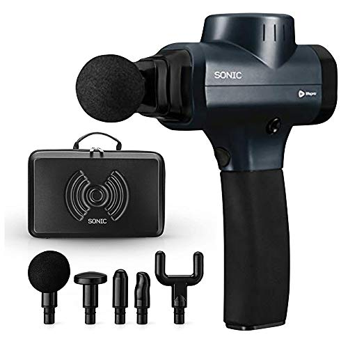 Sonic Handheld Percussion Massage Gun - Deep Tissue Massager for Sore Muscle and Stiffness - Quiet, 5 Speed High-Intensity Vibration - Quick Rechargeable Device - Includes 5 Massage Heads (Black)