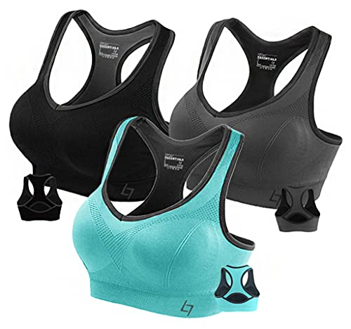Fittin Womens Padded Sports Bras Wire Free with Removable Pads Grey ,Medium, Pack of 3