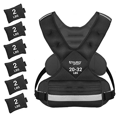 Aduro Sport Adjustable Weighted Vest Workout Equipment, 20lbs-32lbs Body Weight Vest for Men, Women, Kids