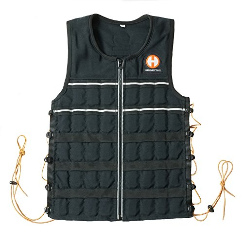 Hyperwear Hyper Vest Elite Weighted Vest, Large 20 lb, Thin, Adjustable, Durable Cordura Fabric, Reflective Trim (Large)
