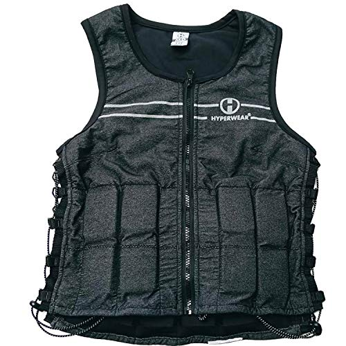 Hyperwear Hyper Vest FIT Adjustable Weighted Vest Women (8 lbs M) 5 lb or 8 lbs Running Walking Workouts Metallic Black Reflective Thin 1/2 lb Weights Designed Comfortable Female Fit (8 lbs Medium)