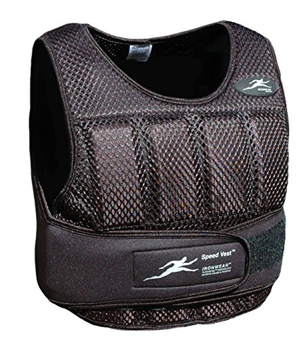 Ironwear New Speed Vest Black Breathable Mesh, Soft Flex-Metal Weights, Super Thin, Professional Athlete Weighted Vest, Made in USA Adjustable 1-11 lbs. Supplied at 11 lbs. (SV10B)
